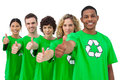 Smiling group of environmental activists giving thumbs up on white background Stock Photo