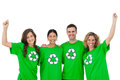 Smiling group of environmental activists raising arms on white background Royalty Free Stock Photo