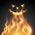 Smiling halloween ghost on fire Royalty Free Stock Images