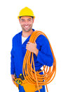 Smiling handyman with rolled wire on white background Royalty Free Stock Photo