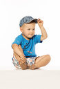Smiling happy boy in baseball cap Royalty Free Stock Photo