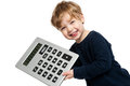 Smiling happy boy big calculator shot studio white background Royalty Free Stock Image