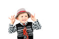 Smiling happy boy in hat studio shot isolated on a white backgro Royalty Free Stock Photo