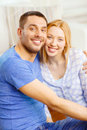 Smiling happy couple at home love family and happiness concept Royalty Free Stock Images