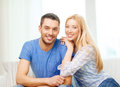 Smiling happy couple at home love family and happiness concept Stock Photos