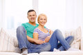 Smiling happy couple at home love family and happiness concept Stock Image