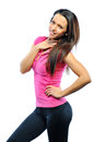 Smiling happy female fitness model looking camera Royalty Free Stock Images