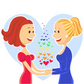 Smiling and happy lesbian couple of women young two vector illustration Stock Photo