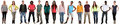 Smiling happy multicultural multi ethnic group of people standing in a row isolated Royalty Free Stock Photo