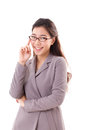 Smiling, happy, positive business woman with eyeglasses Royalty Free Stock Photo