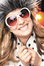 Smiling happy woman beautiful and with white sunglases and heiry hat dots jacket Royalty Free Stock Photo