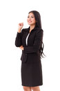 Smiling happy woman business executive looking up thinking and Stock Photography