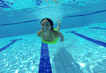Smiling happy young woman underwater in swimming pool girl having fun summer Royalty Free Stock Photos