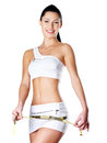 Smiling healthy woman after dieting measures hip lifestyle Stock Images