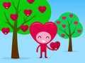 Smiling Heart Character Picking Fruit In Orchard Royalty Free Stock Image