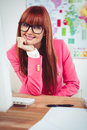 Smiling hipster businesswoman using her computer Royalty Free Stock Photo