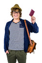 Smiling hipster holding a leather wallet Royalty Free Stock Photo