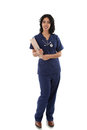 Smiling Hispanic Female Nurse Hold Clipboard Stock Photography