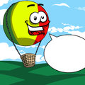 Smiling hot air balloon with speech bubble cartoon style illustrated vector format is available Stock Photo