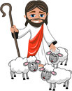 Smiling Jesus Christ Stick Sheeps Isolated