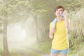 Smiling jogging woman take a rest after training closeup portrait at mist forest Royalty Free Stock Photography