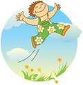 Smiling jumping boy Stock Photography