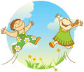 Smiling jumping children Royalty Free Stock Photo
