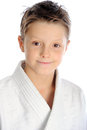 Smiling karate boy cheerful closeup portrait Royalty Free Stock Photo