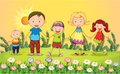 Smiling kids illustration of in a beautiful nature Royalty Free Stock Photo