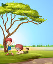 Smiling kids illustration of under a tree Stock Images