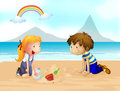 A smiling kids and a rainbow illustration of on the beach Stock Photos