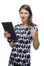 Smiling Lady in an Elegant Printed Dress Holding a Tablet Computer