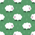 Smiling lambs seamless pattern background. Vector baby sheep illustration for kids holidays. Royalty Free Stock Photo