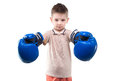 Smiling little boy with boxing gloves Royalty Free Stock Photo