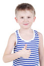 Smiling little boy gives thumb up Stock Photography