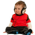 Smiling little boy with headphones Royalty Free Stock Photo