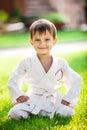 Smiling little boy in kimono Royalty Free Stock Photo