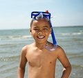 Smiling little boy with snorkel close up portrait of a by the sea Royalty Free Stock Photos