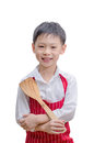 Smiling little cook with flipper isolated on white background Royalty Free Stock Images