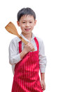 Smiling little cook with flipper isolated on white background Stock Photos