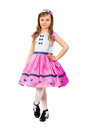 Smiling little gir girl dressed in pink princes dress isolated on white Stock Photo