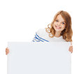Smiling little girl with blank white board education and concept Stock Photography