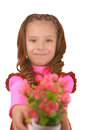 Smiling little girl with bouquet of flower beautiful big on birthday Stock Photography