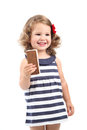 Smiling little girl eating ice cream isolated Royalty Free Stock Photos