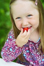 Smiling little girl eating a strawberry. Stock Photos