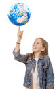 Smiling little girl with globe isolated on white background Royalty Free Stock Photo