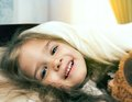 Smiling little girl in morning Royalty Free Stock Images