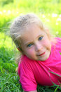 Smiling little girl outdoor portrait cute Stock Photos