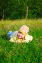 Smiling little girl at summer forest Royalty Free Stock Photo
