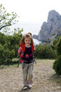 Smiling little hiker Stock Photo